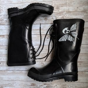 H&M x Tretorn Goth Butterfly Lacey Rain Boots